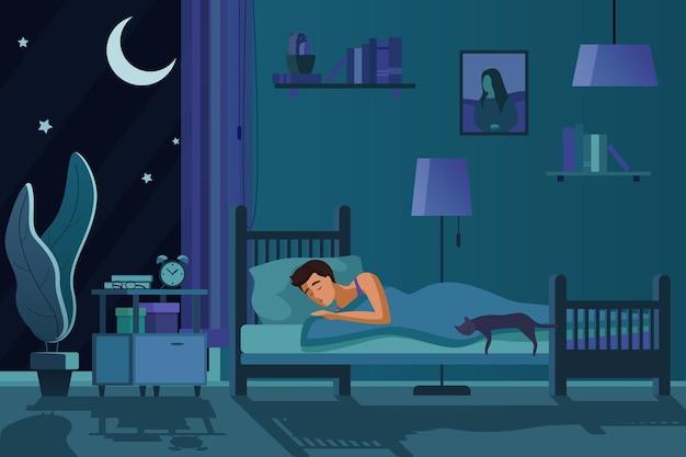 暗い寝室のインテリアでベッドで寝ている若い疲れた男