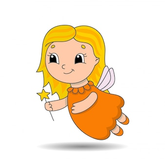Young tooth fairy in a dress with wings and a magic wand. cute character.