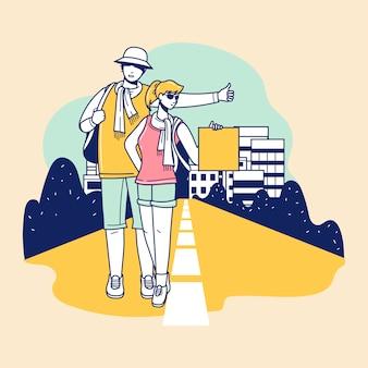 若い観光客が歩いてバックパックで美しい目的地に参加