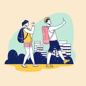 路上でバックパックを歩いてselfieを持つ若い観光客と美しい目的地に参加