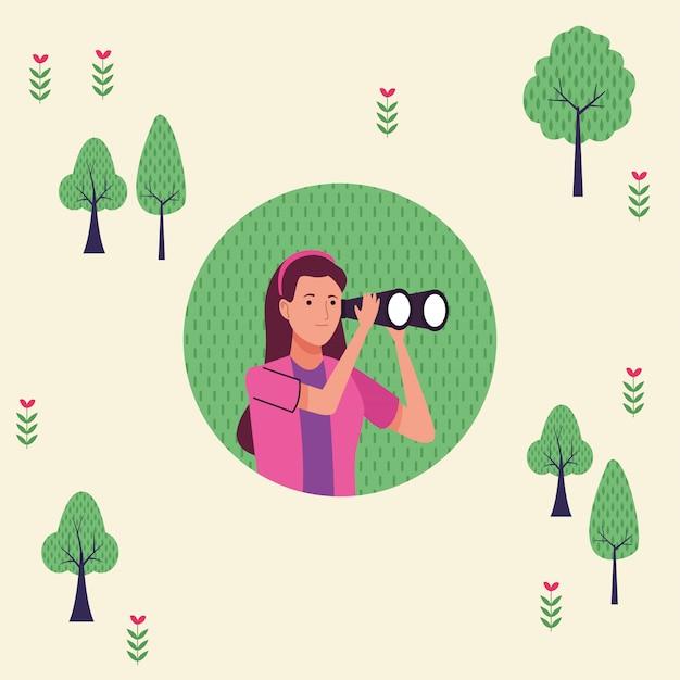Молодая туристическая женщина с помощью бинокля персонаж иллюстрации