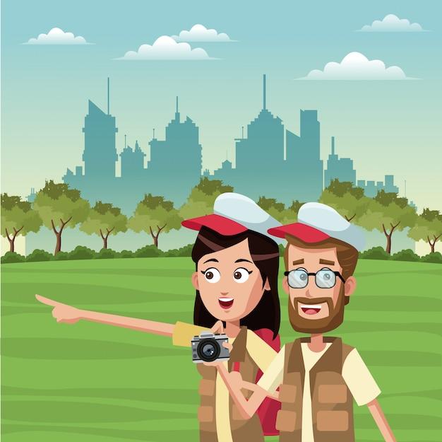 Молодая пара туристов