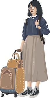 Молодые туристы, путешествующие с рюкзаком и картой, собираются в отпуск. коллекция портретов путешественников