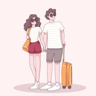 若い旅行者のカップルは、漫画のキャラクター、フラットなイラストで旅行するためにスーツケースと手をつないで立っているサングラスを着用します