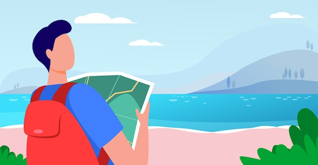 Giovane viaggiatore che tiene mappa e in piedi vicino al lago. zaino, paesaggio, illustrazione vettoriale piatto viaggio. vacanze e natura