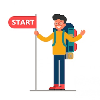 Young traveler with a large backpack holding a blank with start