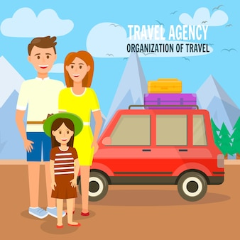 Young traveling family at car with bags on roof