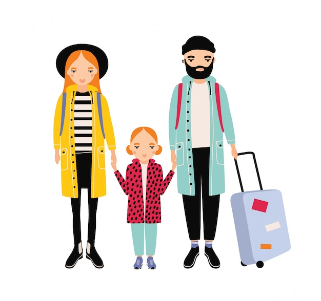 Молодая путешествующая семья матери, отца и дочери. мама, папа и ребенок девочки-туристы с рюкзаками и чемоданом. улыбающиеся герои мультфильмов, изолированные на белом фоне. иллюстрация