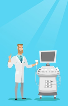 Young ultrasound doctor vector illustration.