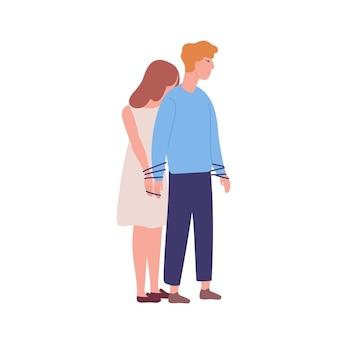 남자에 묶여 젊은 불행 한 여자. 상호 의존, 상호 의존 관계의 개념. 정신 질환, 행동 문제, 정신 질환, 강박 관념. 플랫 만화 다채로운 벡터 일러스트 레이 션.