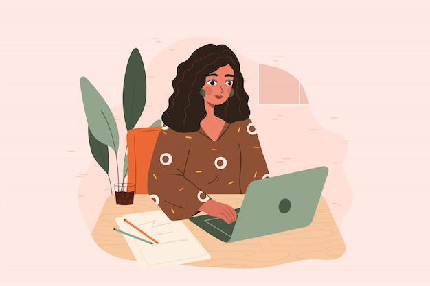 Young vintage woman working at the desk with a laptop in front of her. writer block concept, beauty blogger, creativity crisis, work start problem. flat vector drawing.