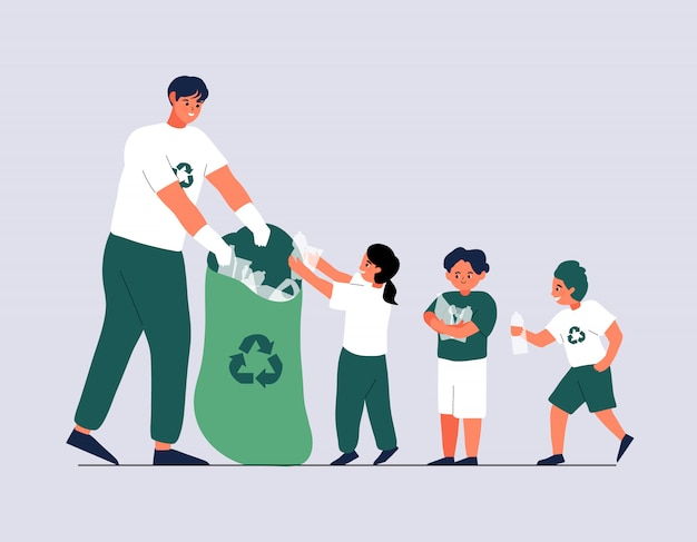 Young volunteer and children collecting garbage. environmentalism and plastic awareness concept