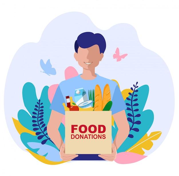 음식 기부금 상자와 젊은 자원 봉사자. 컨셉 일러스트. 캐릭터와 음식 기부 개념입니다. 웹 배너, 인포 그래픽, 영웅 이미지에 사용할 수 있습니다.