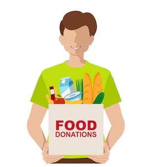 음식 기부 기부금 상자와 젊은 자원 봉사자. 컨셉 일러스트. 기부금 상자. 기부금 및 자원 봉사자 개념 그림 세트, 배너, 모바일 앱, 방문 페이지에 적합