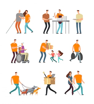 Young volunteers help to disabled and old people. volunteer walking with dog, babysitting and assistance. vector characters set