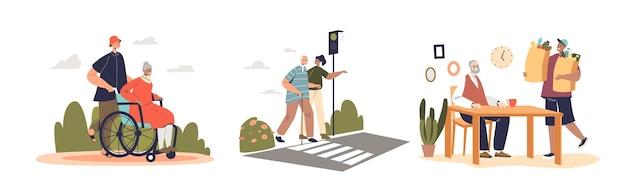 Молодые волонтеры, заботящиеся о пожилых пенсионерах, помогают и поддерживают пожилых мужчин и женщин после выхода на пенсию. молодежное волонтерство со старой концепцией. плоские векторные иллюстрации шаржа