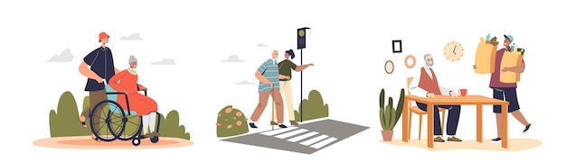 Young volunteers taking care of senior retired people helping and supporting older men and women after retirement. youth volunteering with old concept. cartoon flat vector illustration