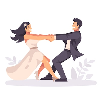 Young wedding couple holing hands and spinning around
