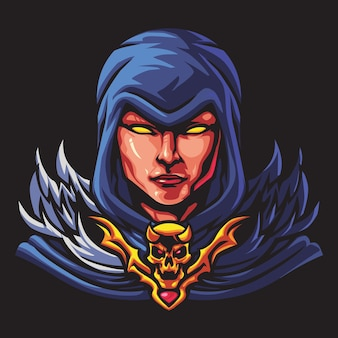 Young witch esport logo illustration