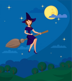 Young witch flying to coven flat illustration