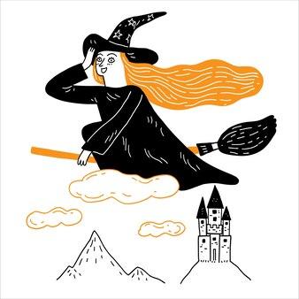 若い魔女は雲の上の城の丘を越えて魔法のほうきに乗っています。