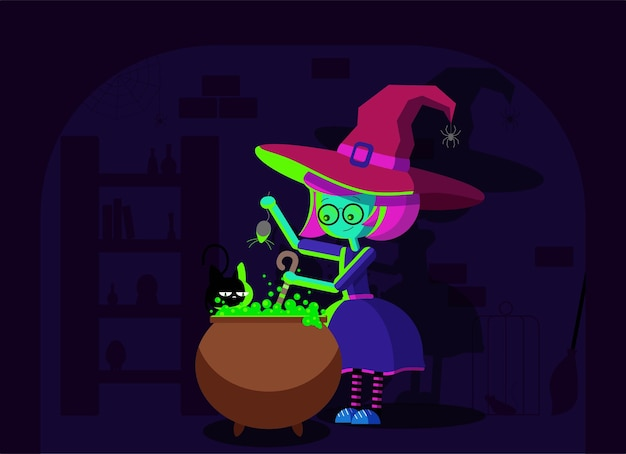 Young witch together with cat brew a potion in a pot for halloween