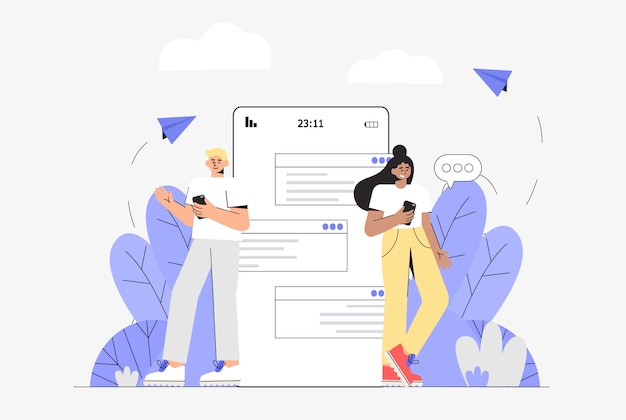 젊은 여자와 남자가 전화 화면 근처에 서서 온라인 채팅.