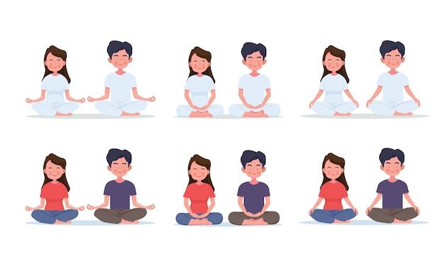 Пара молодая женщина и мужчина, медитируя в позе лотоса. симпатичные карикатуры йоги и медитации иллюстрации.