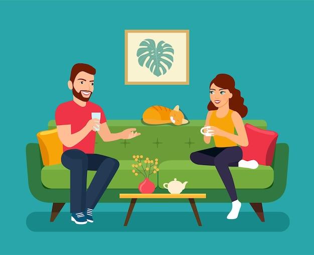 젊은 여자와 남자 절연 소파에 앉아입니다. 벡터 평면 스타일 그림
