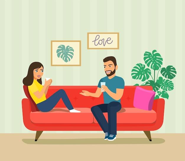 젊은 여자와 남자 소파에 앉아입니다. 벡터 평면 스타일 그림