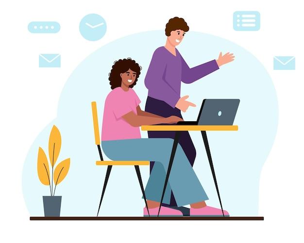 노트북에서 함께 일하는 젊은 여성과 남성 비즈니스 사람 또는 프리랜서 캐릭터
