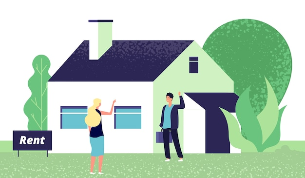 Молодая женщина и агент по недвижимости