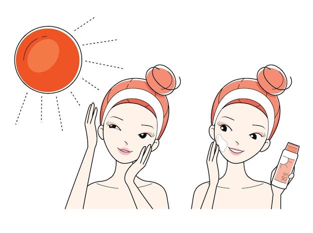 젊은 여자는 선 스크린으로 피부 얼굴을 적용