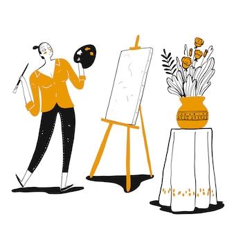 Художник молодой женщины имея счастье и крася дома творческую картину.