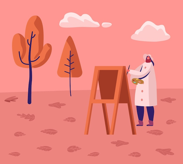 아름다운 풍경 배경에서 이젤에 가을 그림에서 도시 공원에서 흘리 공기에 따뜻한 코트를 입고 젊은 여자 아티스트. 만화 평면 그림