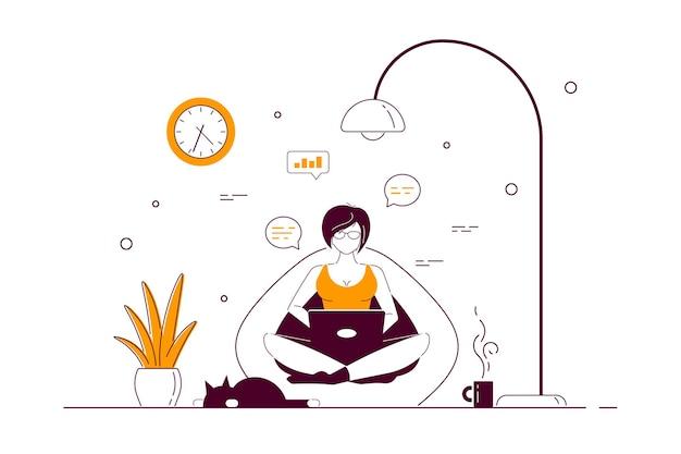Молодая женщина дома сидит в кресле-мешке и работает на компьютере. удаленная работа, домашний офис, концепция самоизоляции. плоский стиль линии искусства иллюстрации.