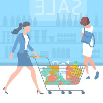 슈퍼마켓 트롤리 평면 desin 개념 쇼핑에서 젊은 여자 애니메이션 캐릭터와 쇼핑 카트 디자인 요소에 대 한 준비