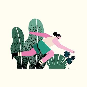 공원 캐릭터 일러스트에서 실행하는 젊은 여자 선수