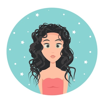 Young woman avatar with long hair and big green eyes, vector illustration in flat style.