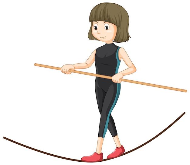 슬랙라인 로프 위에서 균형을 잡는 젊은 여성