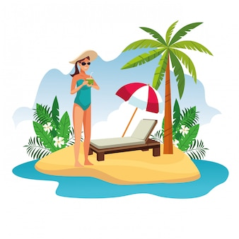 Young woman in the beach cartoon