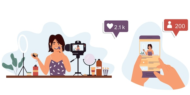 Young woman beauty blogger records a video review on cosmeticsvector isolated illustration