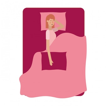 Young woman in bed avatar character