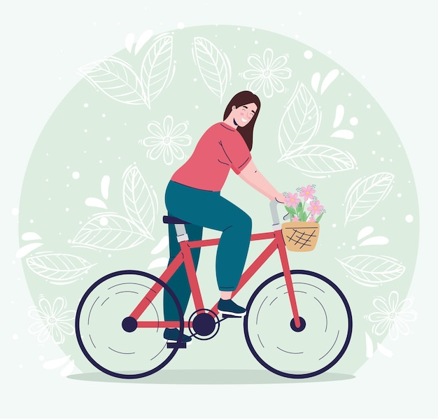 Young woman in bicycle with flowers decoration in basket character  illustration
