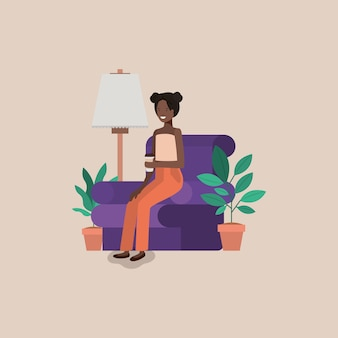 Young woman black on the livingroom