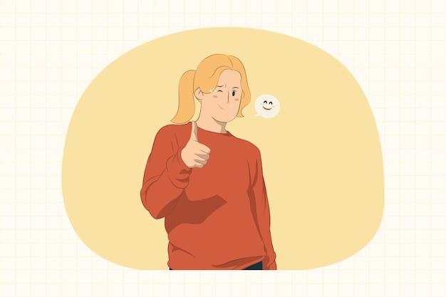 깜박임 및 개념을 엄지 손가락을 보여주는 젊은 여자