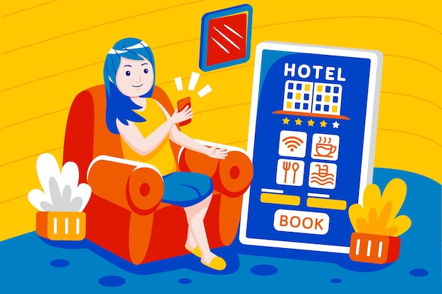 Young woman booking hotel online with mobile app.