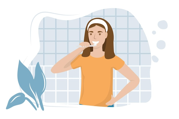 Young woman brushing teeth with toothbrush vector illustration in flat how to brush teeth correctly