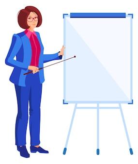 青いビジネススーツの若い女性実業家は、フリップボードにポインターを示しています。白い平らな漫画イラストで隔離