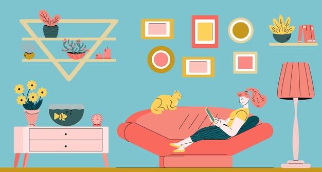 Молодая женщина занята внештатной работой дома мультфильм векторные иллюстрации
